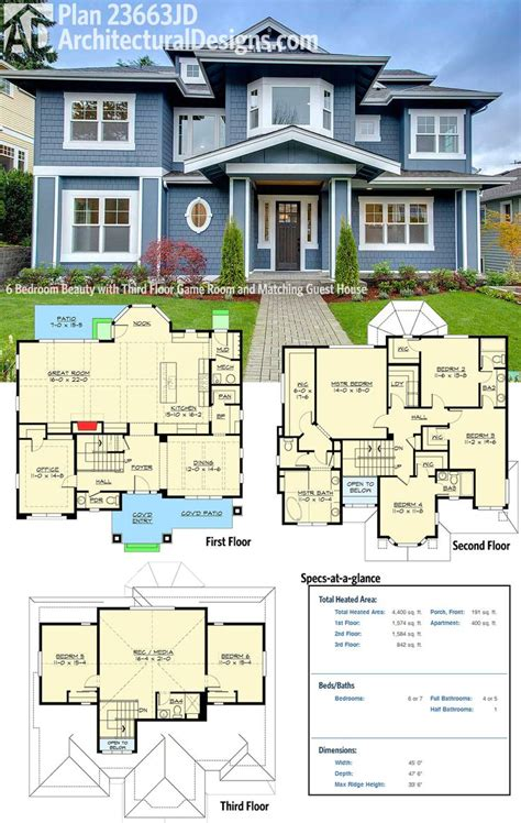 garage guest house plans 20 best ideas about 6 bedroom house plans on pinterest
