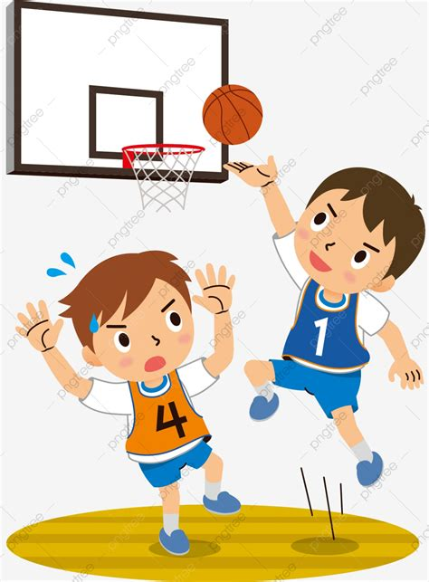 hand drawn cartoon teenager playing basketball childrens