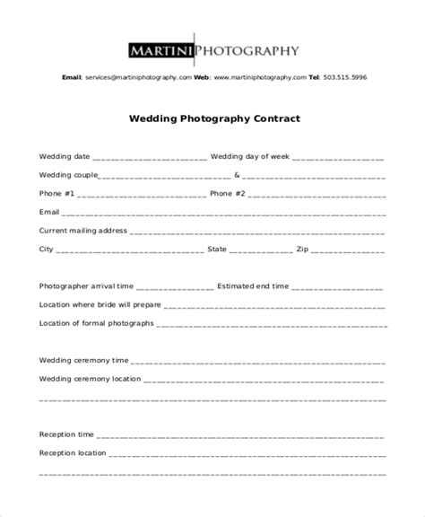 sample photography contract forms