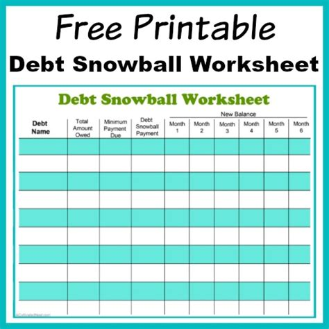 free printable debt snowball worksheet pay your debt