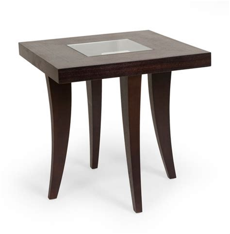 f163 chocolate brown wooden square side table