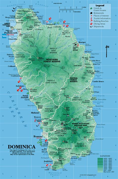 dominica on a map dominica