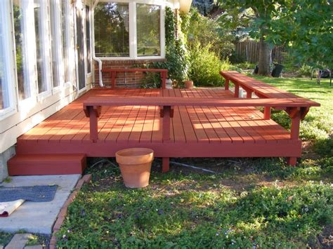 simple deck w bench outdoor living pinterest