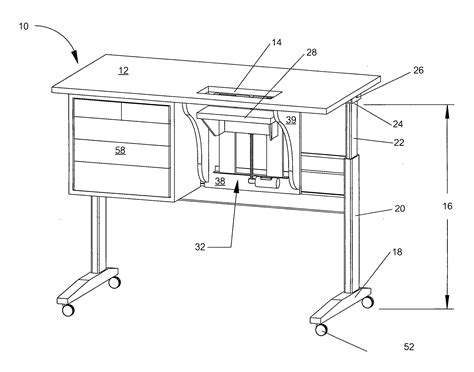 patent us20070040482 height adjustable sewing table