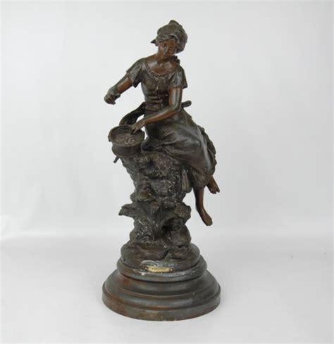Figural L by 19th C Bronze Figural L Signed Quot F Moreau