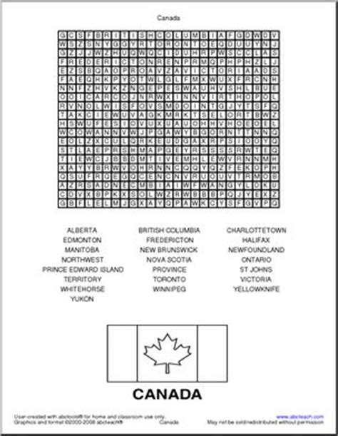 Find Search Canada Word Search Canada Abcteach