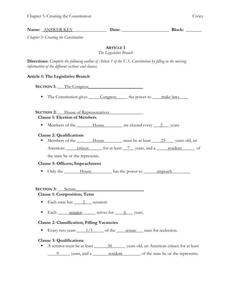 Analysis Of The Constitution Worksheet Answers by Uncategorized Constitution Worksheets Klimttreeoflife