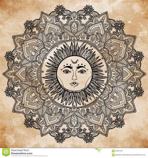 sun mandala  ornament illustration stock vector