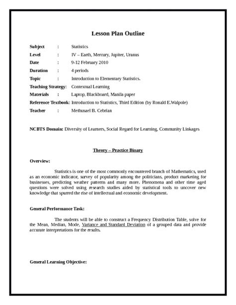outline of a lesson plan template a sle for lesson plan search results