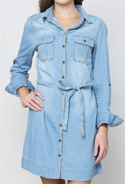 Id 1705 Denim Belted Dress belted denim shirt dress shop sale at papaya clothing