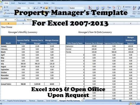 Rental Spreadsheet For Property Managers Onlyagame Property Management Template