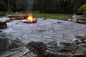 indian run landscaping natural flagstone patio with fire