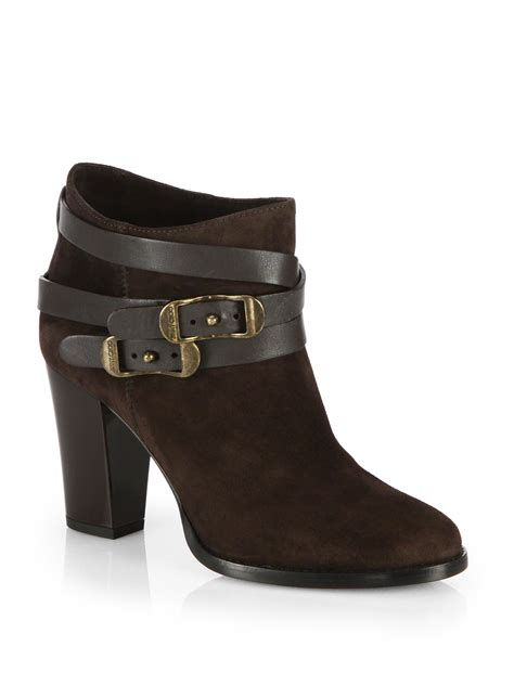 jimmy choo boots lyst jimmy choo melba suede buckle ankle boots in black