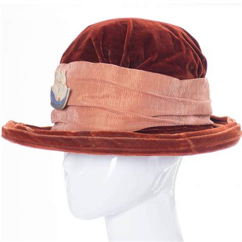 hats edwardian vintage hat velvet satin