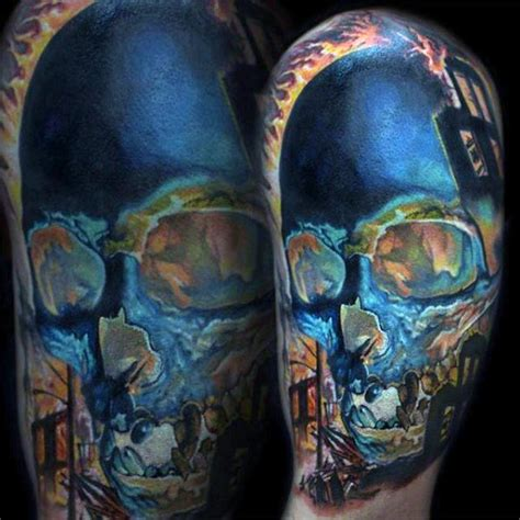 colorful tattoo inspiration 50 unique skull tattoos for men manly ink design ideas