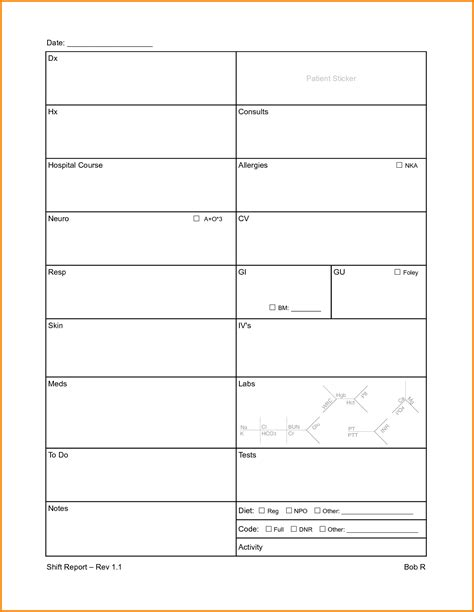 Nursing Sheet Template by Report Sheet Templates