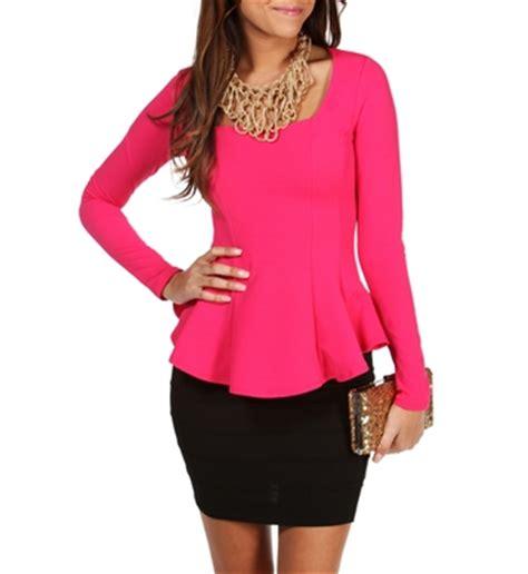 Rok Peplum Mini Polospeplum Mini Skirt pink fitted sleeve peplum top apparel styles sleeve peplum top