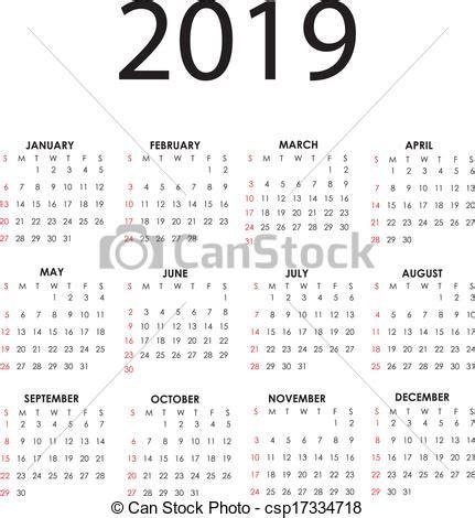 Calendrier Can 2019 Clip Vecteur De Calendrier 2019 Simple Vecteur