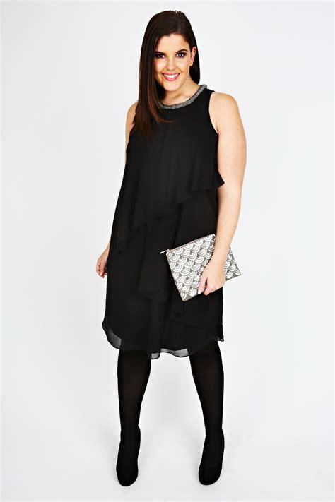 size 18 swing dress black layered swing dress with neck embellishment plus