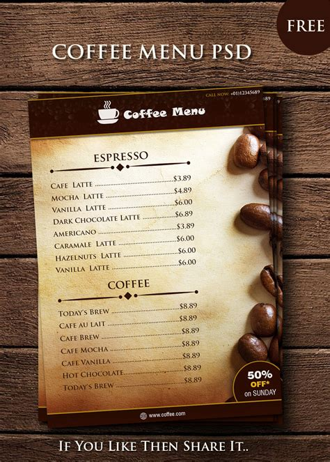 free coffee shop menu template free coffee menu psd templates
