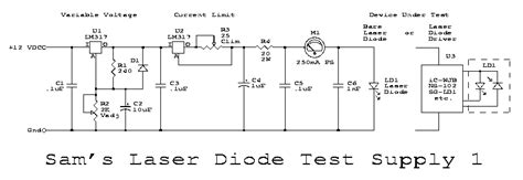 laser diode test circuit sam s laser faq components html photos diagrams and schematics