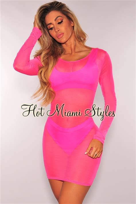 Sleeve Mesh Cover Up neon pink sheer mesh sleeves cover up dress
