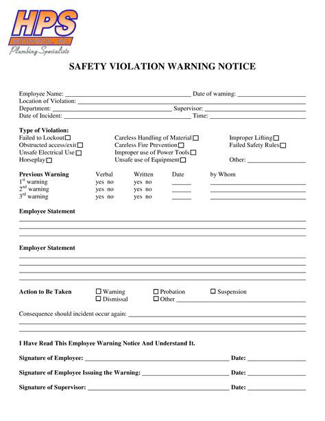 safety warning letter employee templates