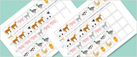 new year animal sequencing farm animals worksheets complete the pattern free