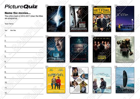film quiz anagrams quiz number 072 with a name the movies picture round