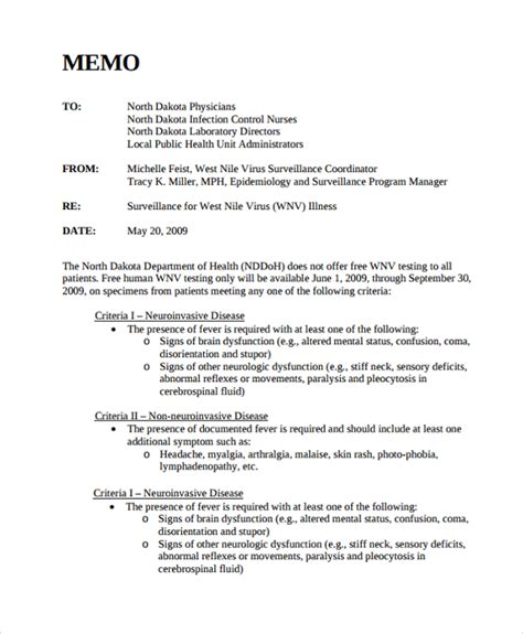 Memo Template Sle Memo Format 26 Documents In Pdf Word
