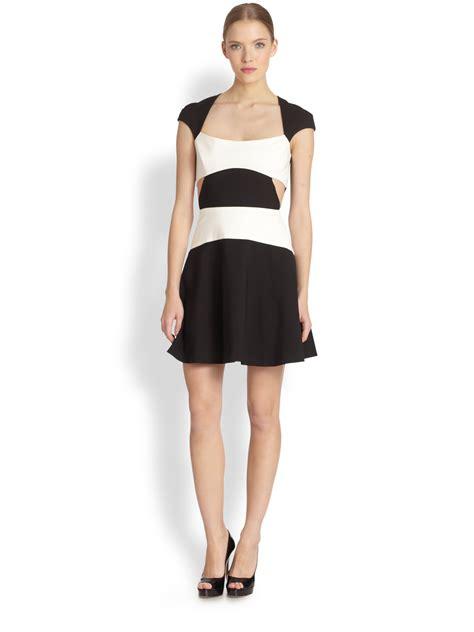 black halo colorblock cutout mini dress in white black white lyst