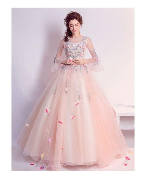 wedding dress beading pink gown scoop neck floor length tulle wedding dress