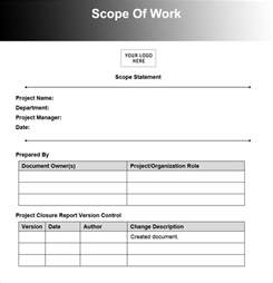 scope of work template pin scope of work template on