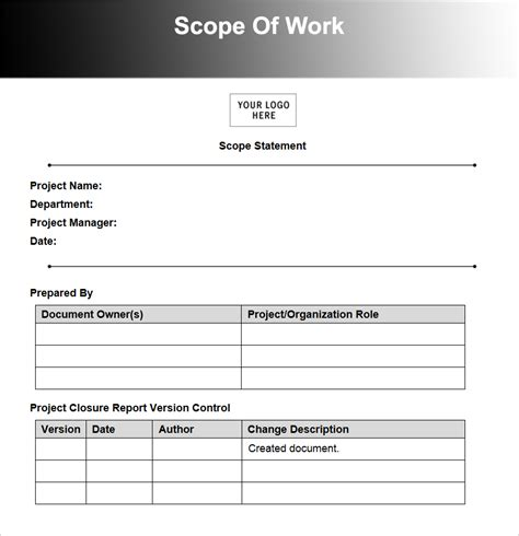 template for scope of work construction contract template studio design gallery