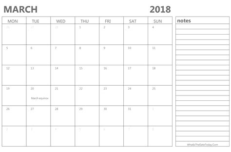 march 2018 calendar fillable calendar template letter march 2018 calendar with notes printable template