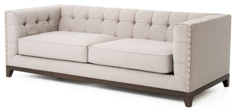 modern classic sofas bethune modern classic tufted straight back linen sofa