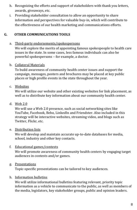 relations plan template free marketing relations plan health center