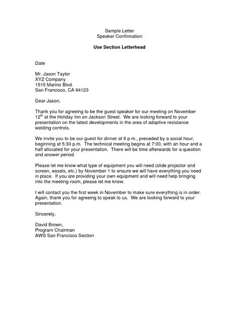 speaker confirmation letter template best photos of speaker confirmation letter for church