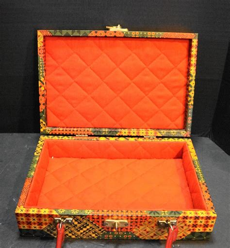 wooden box purse calico print earth tones hoosier
