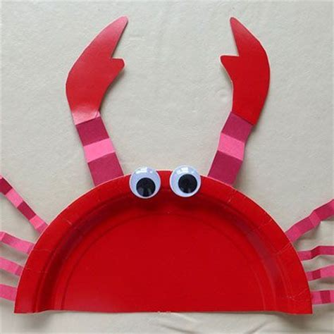 Crab Paper Plate Craft - paper plate crab assiette