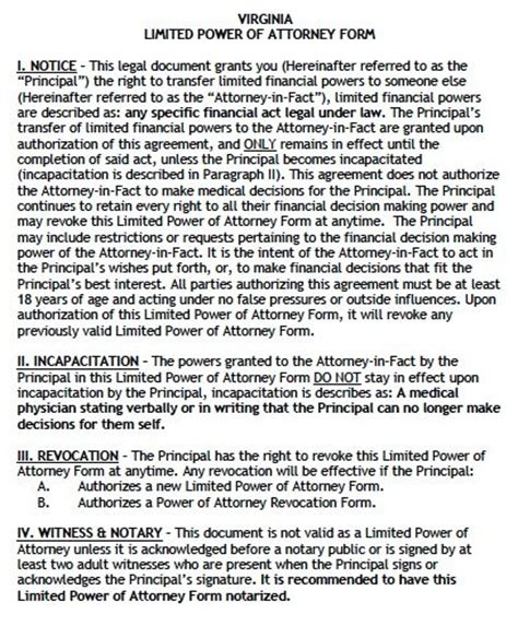 free limited power of attorney virginia form adobe pdf