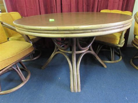 vintage bamboo rattan round dining table and chairs at lot detail vintage mid century modern bamboo rattan