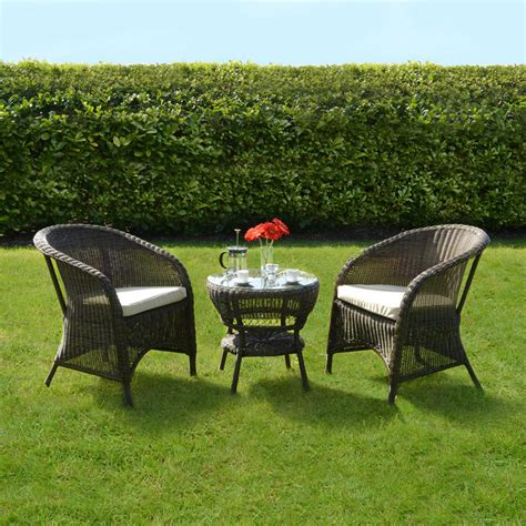 Garden Bistro Chairs Marseille Wicker Rattan Coffee Table 2 Chairs Garden Bistro Set