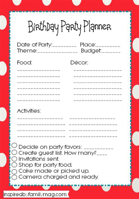 5 best images of party event printable planner party 17 best ideas about birthday party planner on pinterest