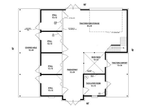 large horse barn floor plans outbuilding plans horse barn or horse stable plan 006b