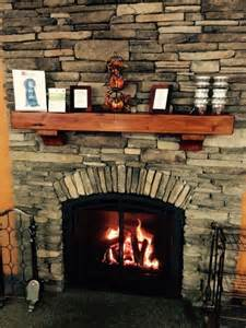 mendota direct vent fireplace with stacked wall and
