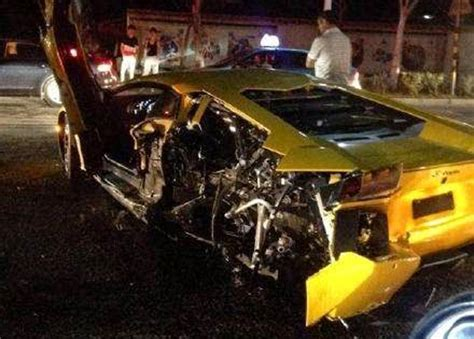 Crashes Lamborghini Yellow Lamborghini Aventador Crashes In China Gtspirit