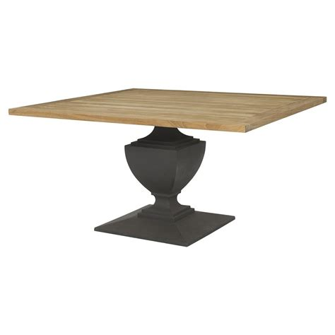 Deborah French Concrete Pedestal Teak Top Outdoor Dining Table