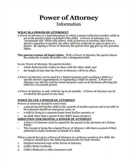 free power of attorney templates 9 power of attorney forms free sle exle