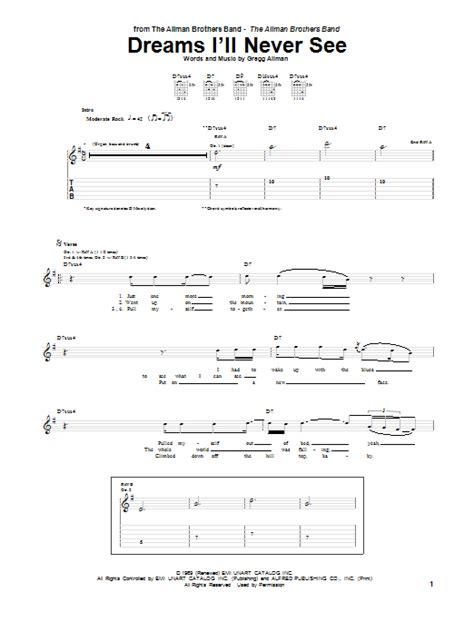 7 I Wish Id Never Seen by Dreams I Ll Never See Guitar Tab By Allman Brothers Band